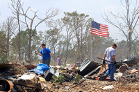 Oklahoma tornadoes American flags
